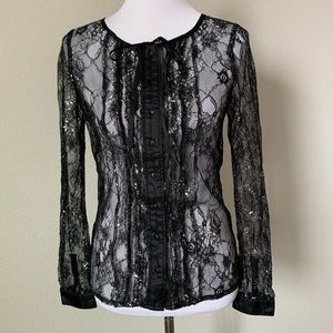 Isabel Lu Black Lace Button Down Blouse, Small